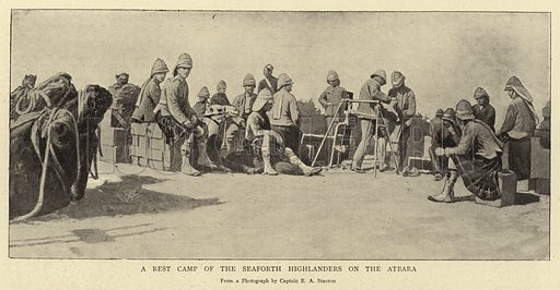 A Rest Camp of the Seaforth Highlanders on the Atbara. Illustration for The Graphic, 7 May 1898.