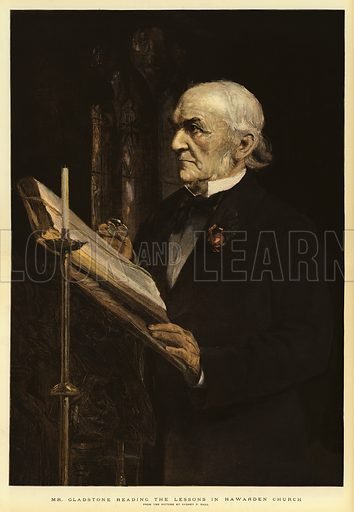 Mr Gladstone reading the Lessons in Hawarden Church. Illustration for The Graphic, 1898.