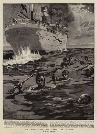 How Krooboys come Home after a Year's Work. Illustration for The Graphic, 7 July 1900.