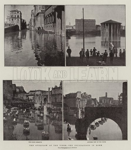 The Overflow of the Tiber, the Inundations in Rome. Illustration for The Graphic, 15 December 1900.