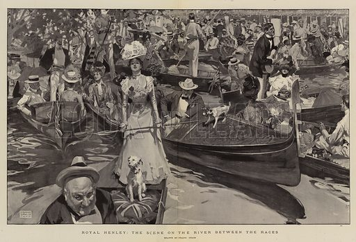 Royal Henley, the Scene on the River between the Races. Illustration for The Graphic, 1900.