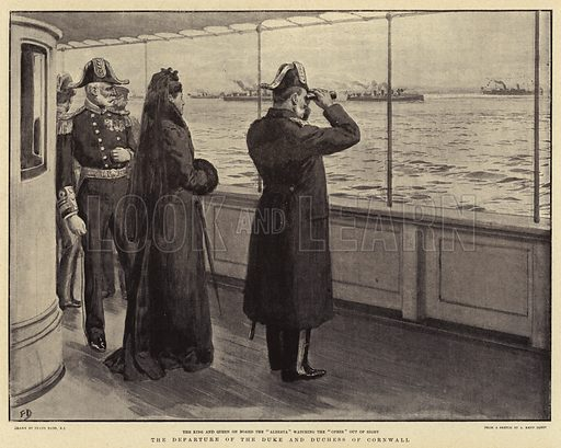 The Departure of the Duke and Duchess of Cornwall. Illustration for The Graphic, 23 March 1901.