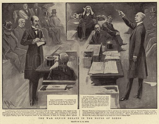 The War Office Debate in the House of Lords. Illustration for The Graphic, 23 March 1901.