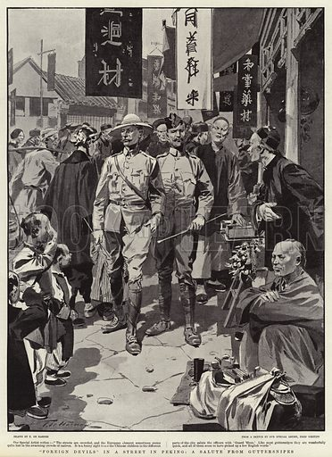 """""""Foreign Devils"""" in a Street in Peking, a Salute from Guttersnipes. Illustration for The Graphic, 18 May 1901."""