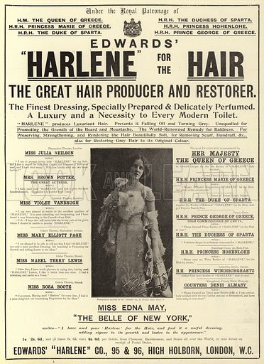 Advertisement, Harlene. Illustration for The Graphic, 26 January 1901.