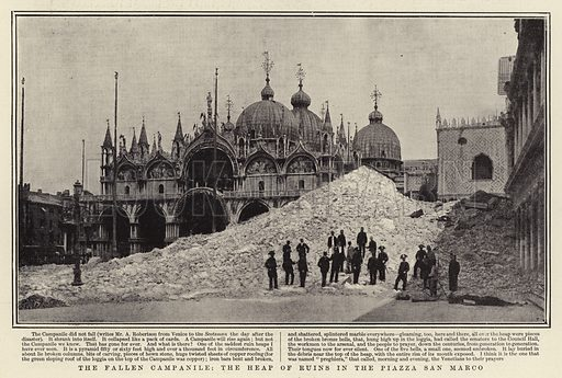 The Fallen Campanile, the Heap of Ruins in the Piazza San Marco. Illustration for The Graphic, 26 July 1902.