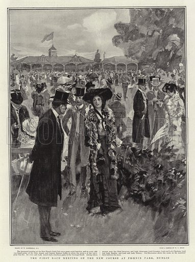 The First Race Meeting on the New Course at Phoenix Park, Dublin. Illustration for The Graphic, 20 September 1902.