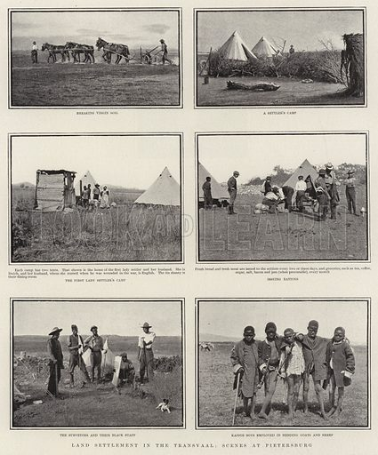 Land Settlement in the Transvaal, Scenes at Pietersburg. Illustration for The Graphic, 29 November 1902.
