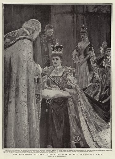 The Archbishop of York putting the Sceptre into the Queen's Hand. Illustration for The Graphic, 13 August 1902.