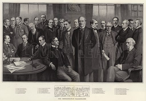 The Metropolitan Magistrates. Illustration for The Graphic, 29 November 1902.