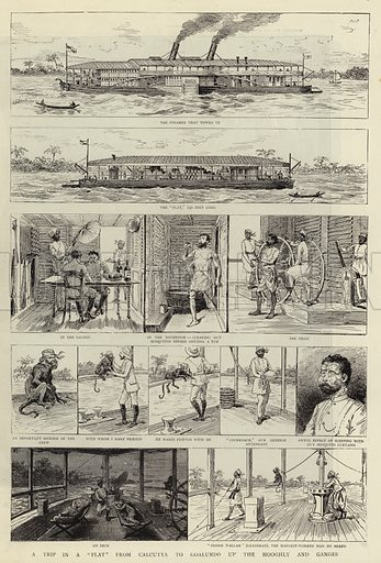 """A Trip in a """"Flat"""" from Calcutta to Goalundo up the Hooghly and Ganges. Illustration for The Graphic, 8 August 1885."""