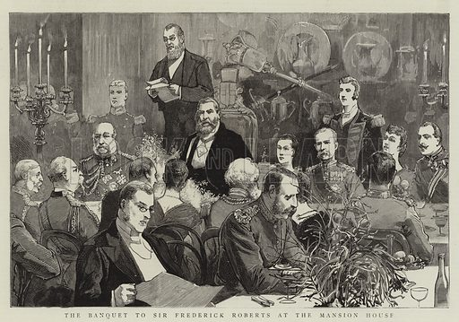 The Banquet to Sir Frederick Roberts at the Mansion House. Illustration for The Graphic, 31 October 1885.