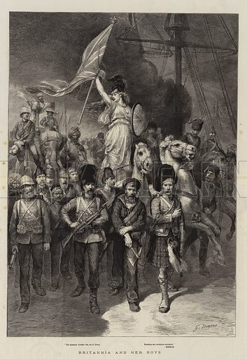 Britannia and her Boys. Illustration for The Graphic, 1885.