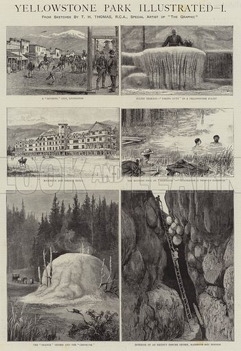 Yellowstone Park Illustrated, I. Illustration for The Graphic, 11 August 1888.