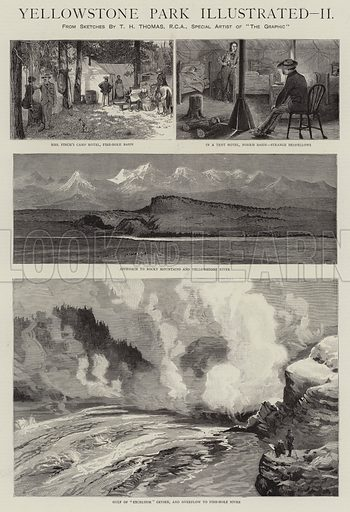Yellowstone Park Illustrated, II. Illustration for The Graphic, 18 August 1888.