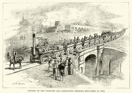 Opening of The Stockton and Darlington Railway, 27 September 1825. Illustration for The Graphic, 13 October 1888.