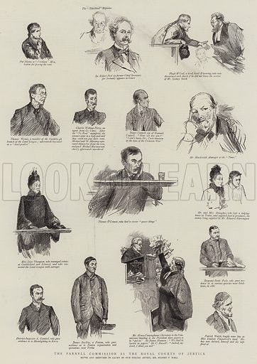 The Parnell Commission at the Royal Courts of Justice. Illustration for The Graphic, 22 December 1888.