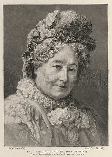 The Late Lady Gregory, Mrs Stirling. Illustration for The Graphic, 4 January 1896.