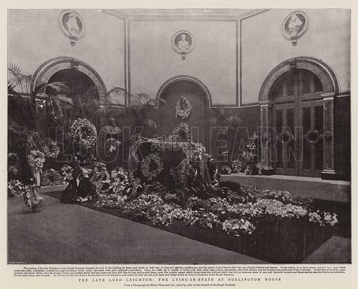 The Late Lord Leighton, the Lying-in-State at Burlington House. Illustration for The Graphic, 8 February 1896.