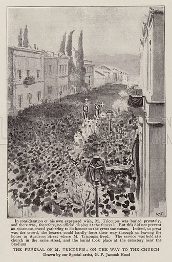 The Funeral of M Tricoupis, on the Way to the Church. Illustration for The Graphic, 9 May 1896.