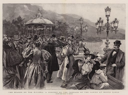 The Season on the Riviera, a Concert on the Terrace of the Casino at Monte Carlo. Illustration for The Graphic, 21 March 1896.