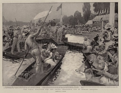 The Final Struggle for the Grand Challenge Cup at Henley Regatta. Illustration for The Graphic, 24 July 1897.
