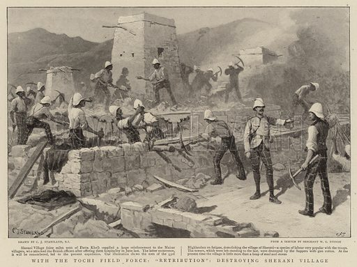 """With the Tochi Field Force, """"Retribution"""", destroying Sherani Village. Illustration for The Graphic, 9 October 1897."""