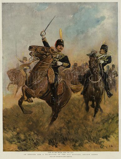 An Officer and a Trumpeter of the 20th Hussars, Review Order. Illustration for The Graphic, 1897.
