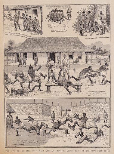 The Humours of Life at a West African Station, Leaves from an Officer's Sketchbook. Illustration for The Graphic, 1 July 1899.