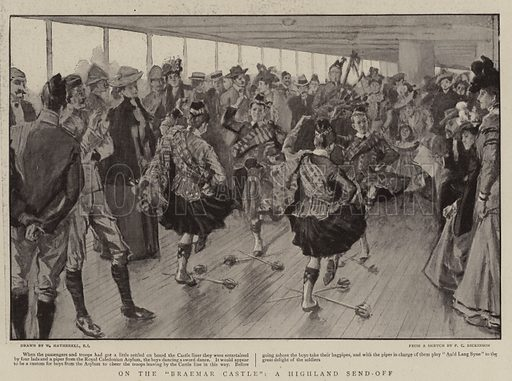 "On the ""Braemar Castle"", a Highland Send-off. Illustration for The Graphic, 14 October 1899."