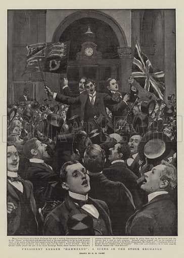 "President Kruger ""Hammered"", a Scene in the Stock Exchange. Illustration for The Graphic, 21 October 1899."