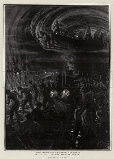 The Making of the Simplon Tunnel. Illustration for The Graphic, 11 January 1902.