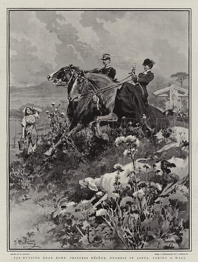 Fox-Hunting near Rome, Princess Helene, Duchess of Aosta, taking a Wall. Illustration for The Graphic, 12 April 1902.