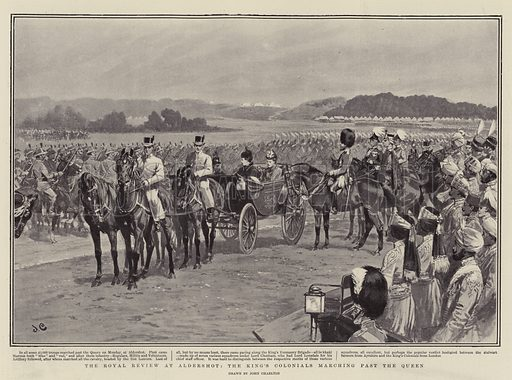 The Royal Review at Aldershot, the King's Colonials marching past the Queen. Illustration for The Graphic, 21 June 1902.