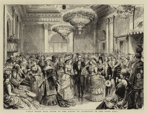 Fancy Dress Ball given by the Mayor of Liverpool in the Town Hall. Illustration for The Graphic, 3 February 1883.