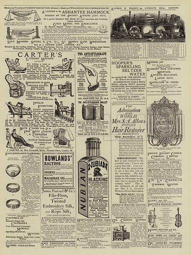 Page of Advertisements. Illustration for The Graphic, 26 May 1883.