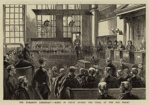 The Dynamite Conspiracy, Scene in Court during the Trial at the Old Bailey. Illustration for The Graphic, 16 June 1883.