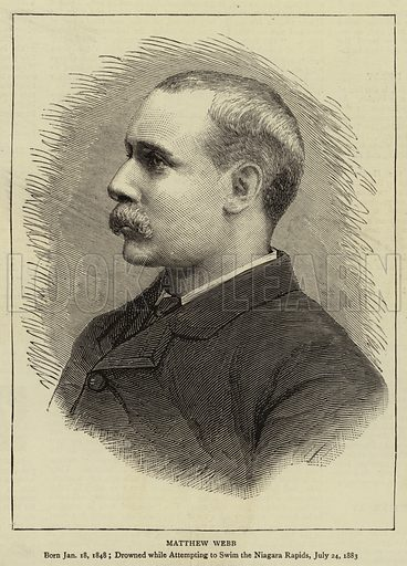 Matthew Webb. Illustration for The Graphic, 4 August 1883.