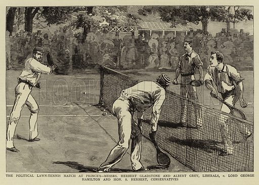 The Political Lawn-Tennis Match at Prince's, Messrs Herbert Gladstone and Albert Grey, Liberals, v Lord George Hamilton and Honourable S Herbert, Conservatives. Illustration for The Graphic, 4 August 1883.