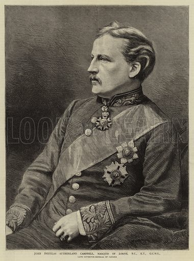 John Douglas Sutherland Campbell, Marquis of Lorne, PC, KT, GCMG, Late Governor-General of Canada. Illustration for The Graphic, 10 November 1883.