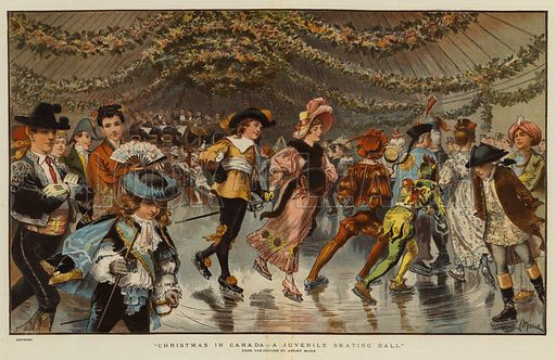 Christmas in Canada, a Juvenile Skating Ball. Illustration for The Graphic, Christmas Number 1883.