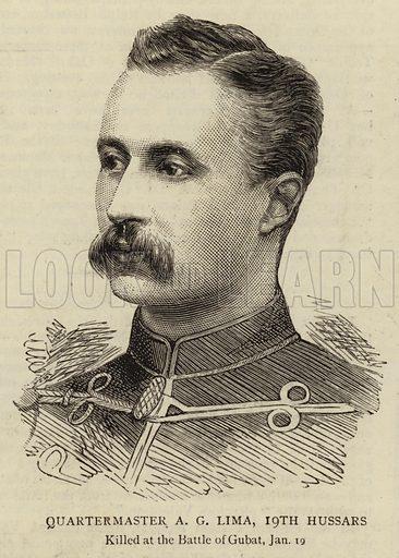 Quartermaster AG Lima, 19th Hussars. Illustration for The Graphic, 14 February 1885.
