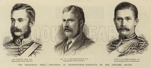 The Disastrous Shell Explosion at Shoeburyness, Portraits of the Officers killed. Illustration for The Graphic, 14 March 1885.