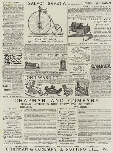 Page of Advertisements. Illustration for The Graphic, 25 April 1885.
