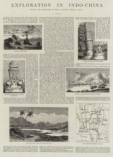 Exploration in Indo-China. Illustration for The Graphic, 23 May 1885.