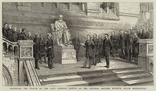 Unveiling the Statue of the Late Charles Darwin in the Natural History Museum, South Kensington. Illustration for The Graphic, 20 June 1885.