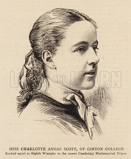 Miss Charlotte Angas Scott, of Girton College. Illustration for The Graphic, 14 February 1880.