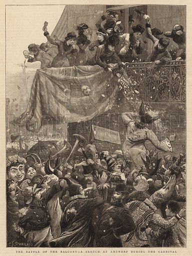 The Battle of the Balcony, a Sketch at Antwerp during the Carnival. Illustration for The Graphic, 28 February 1880.
