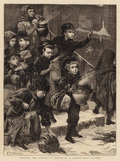 """""""Feeding the Hungry"""", a Sketch at a London Soup Kitchen"""