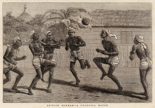 British Burmah, a Football Match. Illustration for The Graphic, 12 June 1880.